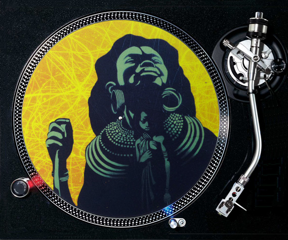 Premium DJ slipmat on turntable