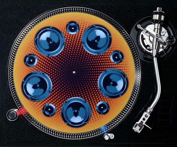 Premium DJ slipmat on turntable