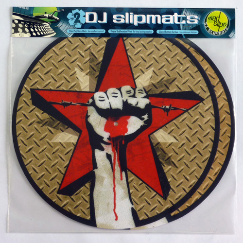 DJ slipmats revolution clenched fist drip blood stencil