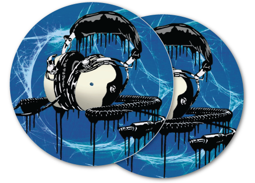 vintage headphones stencil DJ slipmat